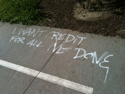 "Graffiti on path ""I want credit for all I've done"""
