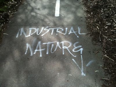 "White graffiti ""Industrial Nature"""