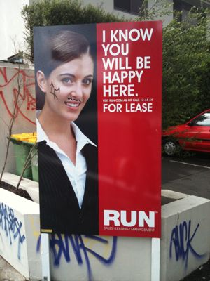 Defaced Run property sign